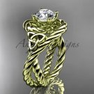 14kt yellow gold celtic trinity twisted rope wedding ring with a  Moissanite center stone RPCT9320