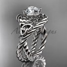 Platinum celtic trinity twisted rope wedding ring with a  Moissanite center stone RPCT9320