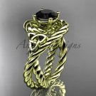 14kt yellow gold celtic trinity twisted rope wedding ring with a Black Diamond center stone RPCT9320