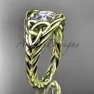 14kt yellow gold celtic trinity rope wedding ring with a Moissanite center stone RPCT964