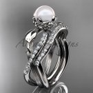 14k White Gold Pearl Flower and Leaf Engagement Set AP70S