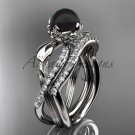 14k White Gold Tahitian Black Pearl Flower and Leaf Engagement Set ABP70S