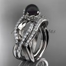 Platinum Tahitian Black Pearl Engagement Ring with a Double Matching Band ABP70S