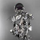 Platinum Diamond Flower Round Tahitian Black Cultured Pearl Engagement Set ABP20S