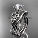 14kt white gold celtic trinity knot engagement set with a Moissanite center stone CT770S