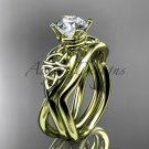 14kt yellow gold celtic trinity knot engagement set with a Moissanite center stone CT770S