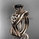 14kt rose gold celtic trinity knot engagement set with a Black Diamond center stone CT770S