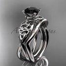 Platinum celtic trinity knot engagement set with a Black Diamond center stone CT770S