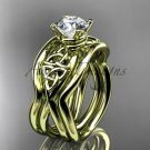 14kt yellow gold celtic trinity knot engagement ring with a double matching band CT770S
