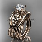 14kt rose gold celtic trinity knot engagement ring with a double matching band CT770S