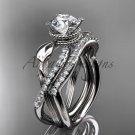 14kt white gold diamond leaf and flower wedding set ADLR70S