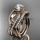 14kt rose gold flower double wedding band with a Moissanite center stone engagement ring ADLR70S