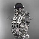 14kt white gold diamond leaf and floral round tahitian black cultured pearl wedding set ABP35S