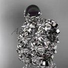 Platinum diamond round tahitian black cultured pearl flower engagement set ABP57S