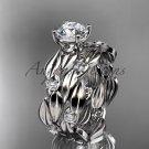 Platinum diamond leaf wedding set ADLR58S