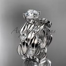 "Platinum diamond leaf wedding set with a ""Forever One"" Moissanite center stone ADLR58S"