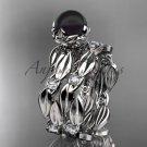 Unique Platinum  diamond round tahitian black cultured pearl engagement set ABP58S