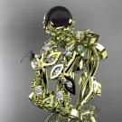 14k yellow gold diamond round black cultured pearl leaf wedding set ABP59S