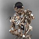 14k rose gold diamond round black cultured pearl leaf wedding set ABP59S