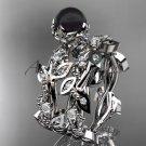 Platinum diamond round black cultured pearl leaf wedding set ABP59S
