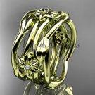 14k yellow gold diamond flower wedding band, engagement ring ADLR523B