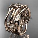 14k rose gold diamond flower wedding band, engagement ring ADLR523B