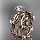 unique 14k rose gold leaf and vine wedding set ADLR522S