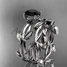 unique 14k white gold leaf and vine wedding set with a Black Diamond center stone ADLR522S