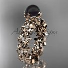 14k rose gold diamond round tahitian black cultured pearl flower engagement ring ABP57