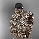14k rose gold diamond round tahitian black cultured pearl flower engagement set ABP57S