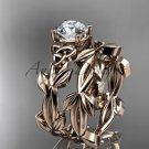 Celtic knot rose gold leaf wedding ring set CT7522S
