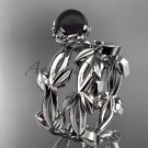 Black Pearl flower wedding platinum set without diamonds ABP522S