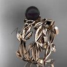 Celtic trinity knot rose gold black cultured pearl leaf wedding ring set CTBP7522S