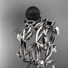 Celtic trinity knot platinum black cultured pearl leaf wedding ring set CTBP7522S