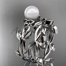 Celtic white gold pearl leaves bridal ring set CTP7522S