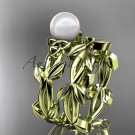 Celtic yellow gold pearl leaves bridal ring set CTP7522S
