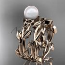 Celtic rose gold pearl leaves bridal ring set CTP7522S