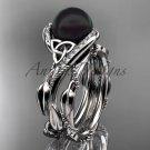 Celtic white gold ring diamond black pearl engagement set for her CTBP764S