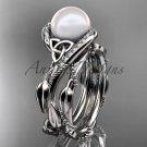 Celtic style wedding set 14kt white gold diamond pearl leaf ring CTP764S
