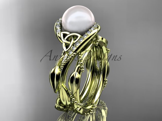 Celtic style wedding set 14kt yellow gold diamond pearl leaf ring CTP764S