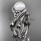 Celtic style wedding set platinum diamond pearl leaf ring CTP764S