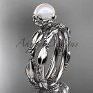Diamond Unique Pearl Wedding Set Ring platinum Wedding Ring AP178S