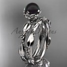 Unique Diamond Black Pearl Wedding Set Ring 14kt White Gold Wedding Ring ABP178S