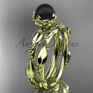 Unique Diamond Black Pearl Wedding Set Ring 14kt yellow Gold Wedding Ring ABP178S