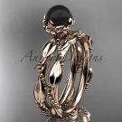 Unique Diamond Black Pearl Wedding Set Ring 14kt rose Gold Wedding Ring ABP178S