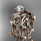 Leaf and Flower Wedding Sets 14k rose gold modern engagement set ADLR424S