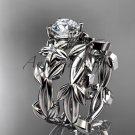 Leaf and Flower Wedding Sets platinum modern engagement set ADLR424S