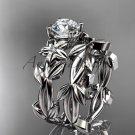 Moissanite Wedding Sets 14k white gold modern engagement set ADLR424S