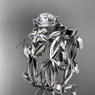 Moissanite Wedding Sets platinum modern engagement set ADLR424S