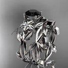 Black Diamond Wedding Sets 14k white gold modern engagement set ADLR424S